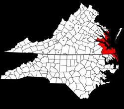 Map of Virginia and North Carolina highlighting Virginia Beach-Norfolk-Newport News, VA-NC MSA