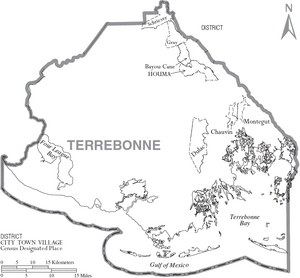 Map of Terrebonne Parish Louisiana With Municipal Labels