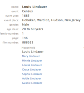 Lindauer-Louis 1885 NJ census
