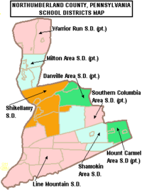 Map of Northumberland County Pennsylvania School Districts