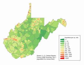 West Virginia population map