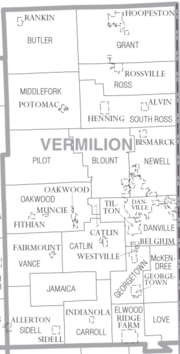 Map of Vermilion County Illinois