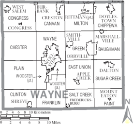 Map of Wayne County Ohio With Municipal and Township Labels