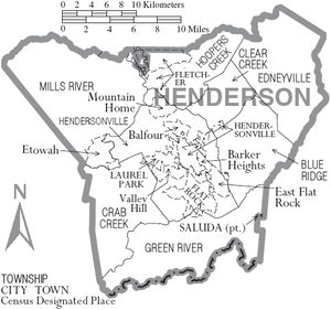 Map of Henderson County North Carolina With Municipal and Township Labels