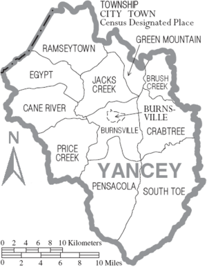 Map of Yancey County North Carolina With Municipal and Township Labels