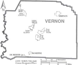 Map of Vernon Parish Louisiana With Municipal Labels