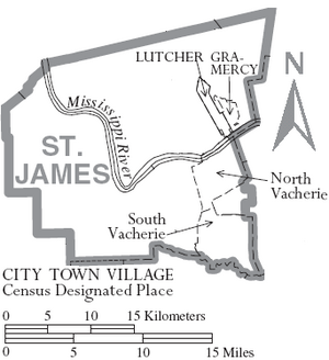 Map of St. James Parish Louisiana With Municipal Labels