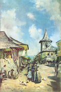 Theodor Aman - Street in Cîmpulung, 1890