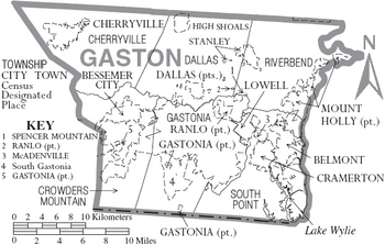 Map of Gaston County North Carolina With Municipal and Township Labels