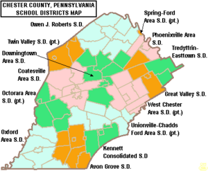 Map of Chester County Pennsylvania School Districts