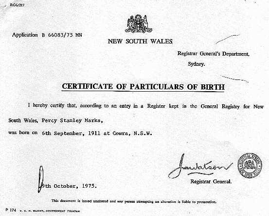 Image - Percy Stanley Marks (1911 - 1988) Birth Certificate.jpg ...