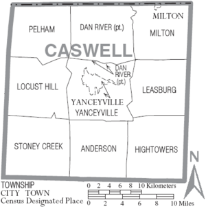 Map of Caswell County North Carolina With Municipal and Township Labels