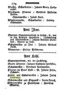 Hof und Staatskalender (1786) page 174 with Johann Jacob Lindauer of Kehl