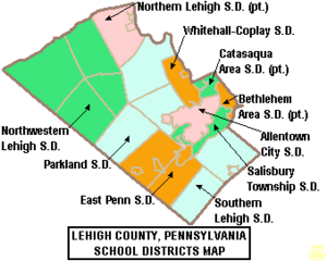 Map of Lehigh County Pennsylvania School Districts
