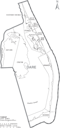 Map of Dare County North Carolina With Municipal and Township Labels