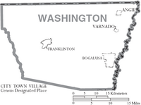 Map of Washington Parish Louisiana With Municipal Labels