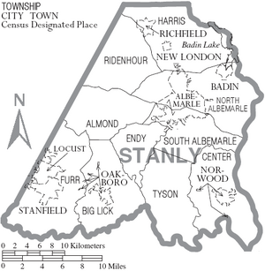 Map of Stanly County North Carolina With Municipal and Township Labels
