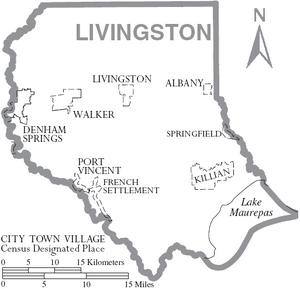 Map of Livingston Parish Louisiana With Municipal Labels