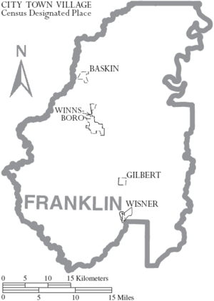 Map of Franklin Parish Louisiana With Municipal Labels