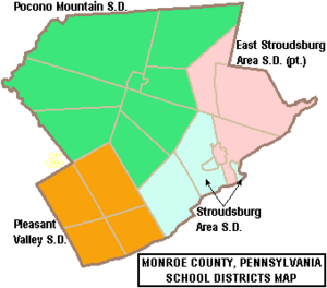 Map of Monroe County Pennsylvania School Districts