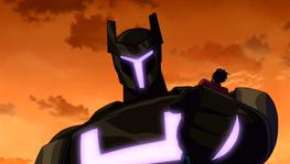 Meta-Zord aplastando a Rex y diciendole mentiras