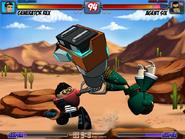 Rex golpeando a Seis con los tecnobrazos - TKO