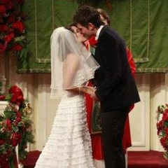 Patrick and Robin's first kiss as husband and wife