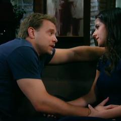 Drew touches Sam's stomach