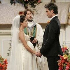 Patrick and a very pregnant Robin at their first wedding (2008)