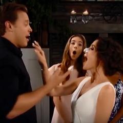 Jason puts cake on Sam's nose