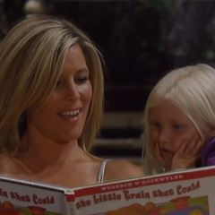 Josslyn (Sarah Johnson) reading with her mom