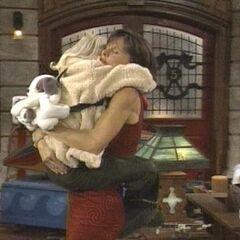 Serena hugs her mom