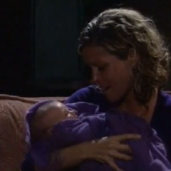 Carly holds Joss for the first time