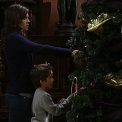 Spencer and Britt decorate the Christmas tree