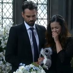 Patrick and Sabrina at Gabriel's funeral