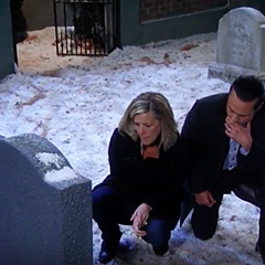 Sonny and Carly at Morgan's grave site