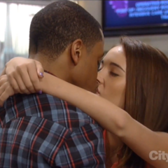 TJ and Molly kiss at the hospital (2013)