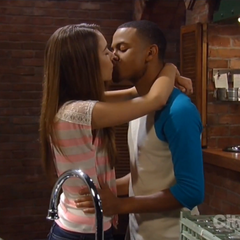Molly and TJ kiss