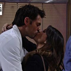 Patrick and Robin kissing