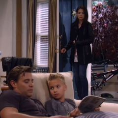 Elizabeth walks in on little Jake telling big Jake that he's his real daddy
