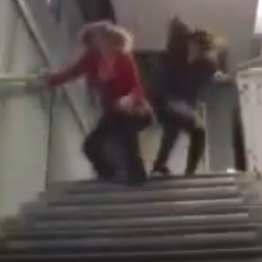 Carly falls down the stairs