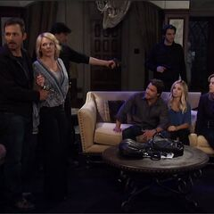 Valentin holding Laura, Lulu, Dante, Ava, Kevin and Nikolas hostage