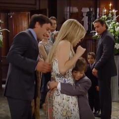 Cameron hugs his aunt Lulu