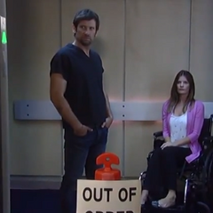 The elevator doors open
