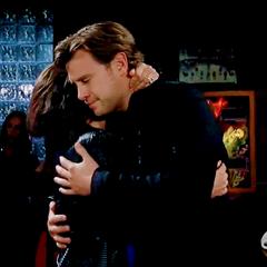 Jason and Sam hug