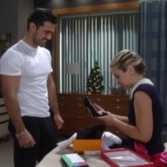 Nathan gives Maxie her Christmas present