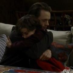 Cam hugs his dad goodbye