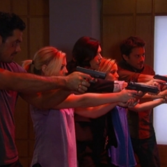Nathan, Maxie, Anna, Dante and Lulu shoot at the front doors