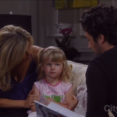Josslyn reads with her mom and Johnny (The Larson twins last appearance)