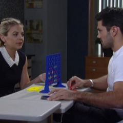Nathan and Maxie play connect 4